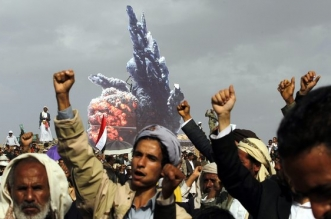Houthi supporters in Sana'a at a rally commemorating the start of the Saudi-led military campaign, on 26 March 2016. 'About 80% of the population are in urgent need of humanitarian aid.' Photograph: Yahya Arhab/EPA
