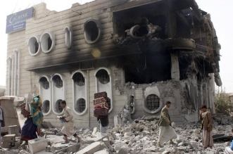 A damaged building in Sana'a, Yemen, which has been the subject of a Saudi bombing campaign. Photograph: Reuters