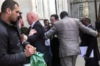 general saudi yemen london protest screengrab