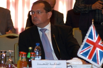 British ambassador to Syria, Simon Collis, attends a meeting of the Iraqi Neighbours Border Security Working Group in Damascus on November 23, 2008. The meeting is the third annual gathering in Syria since it was established in 2006. Delegates to the talks included senior officials from the foreign or interior ministries of nations neighbouring Iraq, officials from Egypt and representatives of UN Security Council members, including the United States. AFP PHOTO/STR / AFP PHOTO